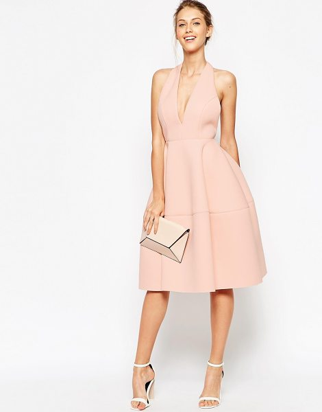 Asos Premium scuba backless halter full midi dress in nude - Midi dress by ASOS Collection Unlined mid-weight scuba...