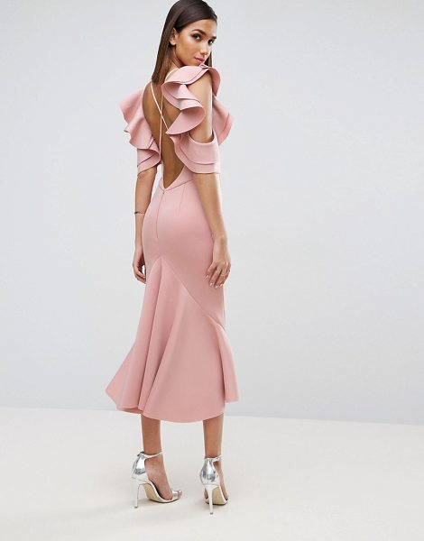 Asos PREMIUM Scuba Extreme Pephem Midi Dress in pink - Midi dress by ASOS Collection, Scuba-style fabric, Crew...