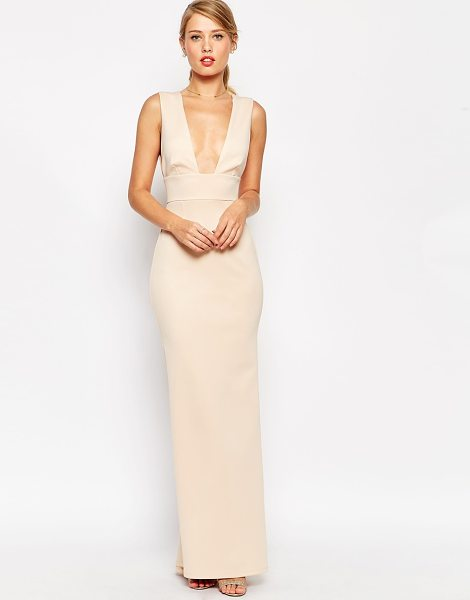 Asos Premium scuba low plunge fishtail maxi dress in nude - Maxi dress by ASOS Collection Smooth scuba-style fabric...