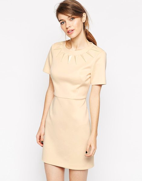 Asos Premium shard stone body-conscious dress in nude - Dress by ASOS Collection Lightweight smooth scuba Crew...
