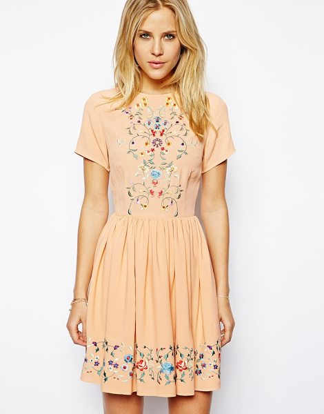 Asos Premium skater dress with pretty floral embroidery in peach - Machine Wash According To Instructions On Care Label....