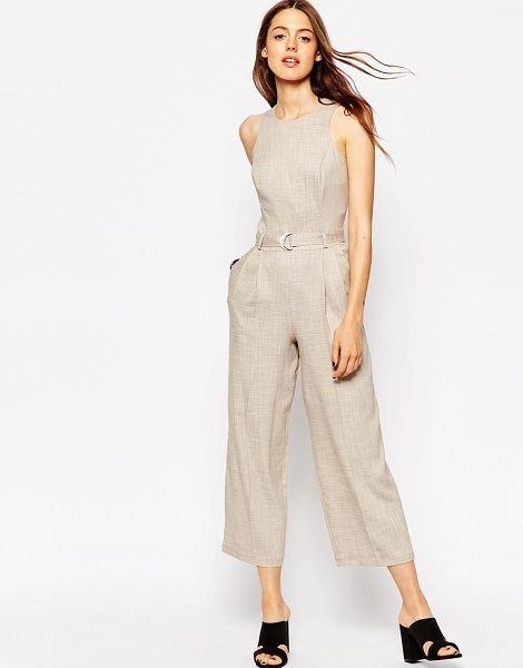 Asos Premium texture jumpsuit with d-ring detail in stone - Jumpsuit by ASOS Collection Textured fabric Stitch dart...