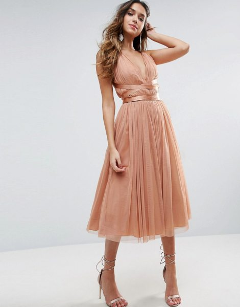 "ASOS DESIGN asos premium tulle midi prom dress with ribbon ties in peach - """"Midi dress by ASOS Collection, Lined Tulle, Plunge..."
