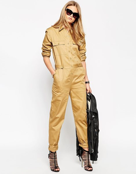 Asos Premium utility jumpsuit in sand - Jumpsuit by ASOS Collection Woven cotton Point collar...