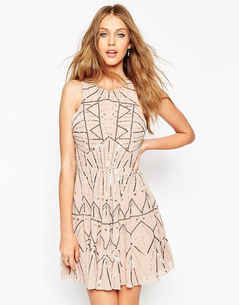 Asos Pretty Skater Dress With Metal Embellishment in pink - Evening dress by ASOS Collection, Heavyweight lined...