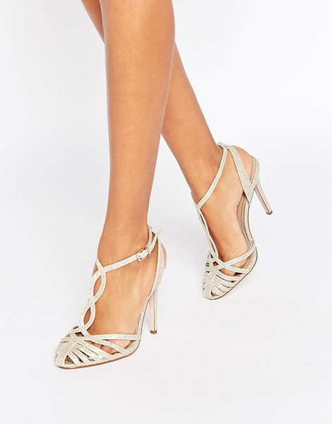 Asos Prime heeled shoes in gold - Heels by ASOS Collection, Glitter-embellished upper,...