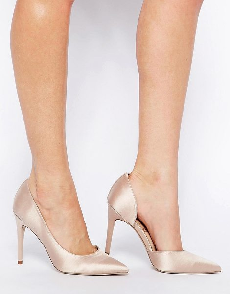 Asos Proposition pointed high heels in beige - Heels by ASOS Collection, Satin-effect upper, Cut-away...