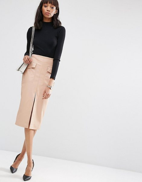 Asos PU Pencil Skirt with Pockets and Front Split in beige