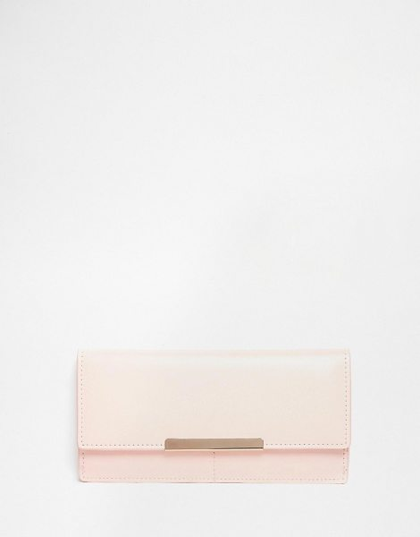 Asos Purse with metal bar in nude - Cart by ASOS Collection Leather-look outer Flap design...