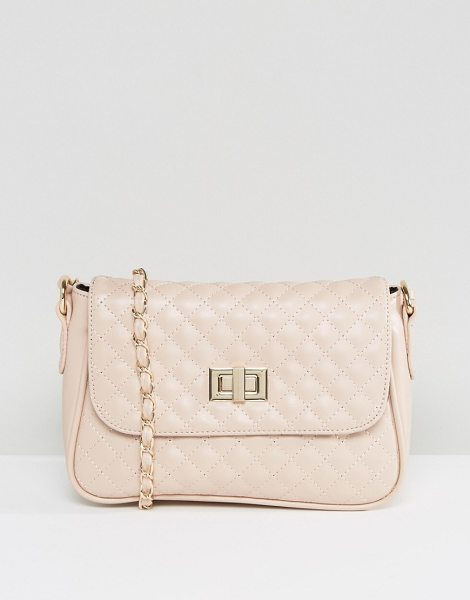 "Asos Quilted Lock Cross Body Bag in pink - """"Bag by ASOS Collection, Faux-leather outer, Fully..."