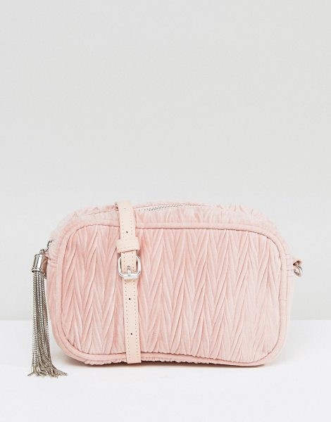"Asos quilted velvet camera bag with tassel in babypink - """"Bag by ASOS Collection, Quilted velvet outer, Tassel..."