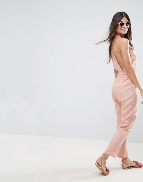 Asos Racer Back Casual Jumpsuit in pink - Jumpsuit by ASOS Collection, Linen-mix fabric, Crew...
