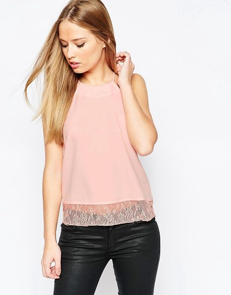 ASOS Racer Front Cami With Lace Hem in pink - Top by ASOS Collection, Smooth woven fabric, Racer-cut...