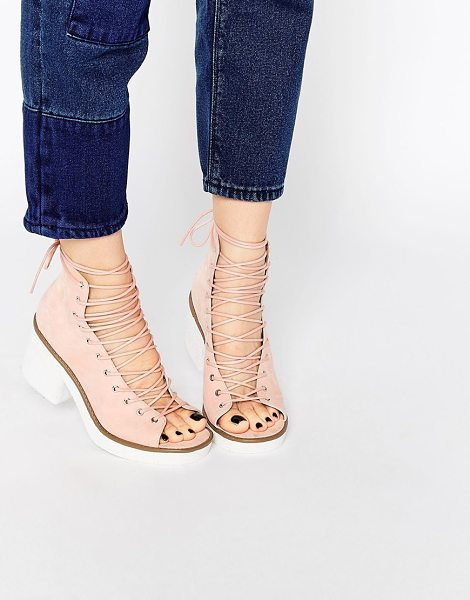 Asos Racer lace up boots in nude