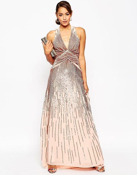 ASOS Red carpet 30s deep plunge rose sequin maxi dress - Maxi dress by ASOS Collection, Sequin embellished...