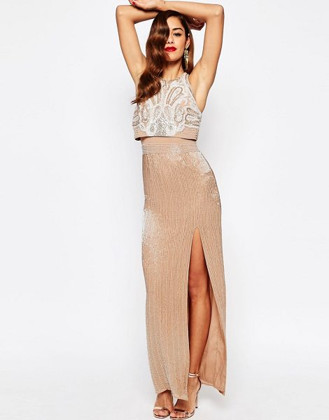Asos RED CARPET All Over Embellished Crop Top Maxi Dress in pink - Evening dress by ASOS Collection, Lined chiffon,...