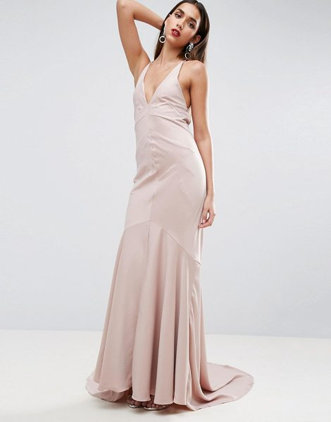 Asos RED CARPET Deep Plunge Fishtail Maxi in beige -