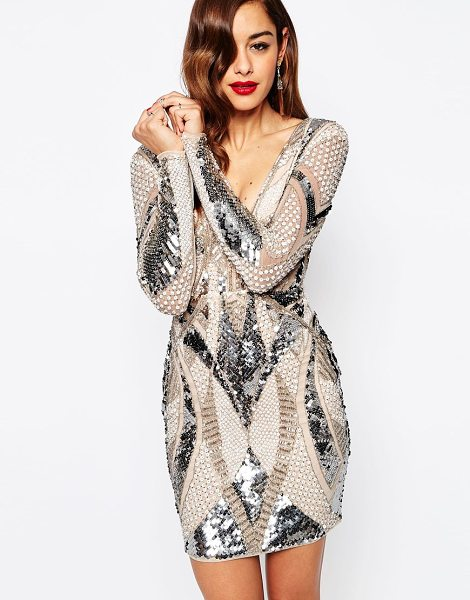 ASOS Red carpet embellished deep plunge mini bodycon dress - Body-Conscious dress by ASOS Collection Medium-weight...