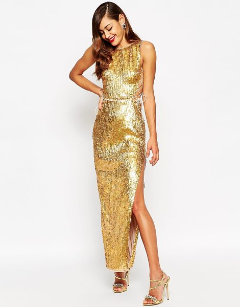 ASOS Red carpet gold shell lace up side maxi dress - Maxi dress by ASOS Collection, Sequin embellished...