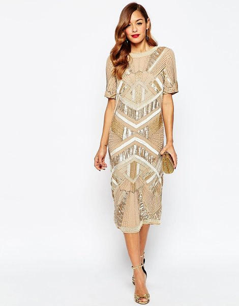 Asos RED CARPET Iridescent Midi T Shirt Dress in copper - Evening dress by ASOS Collection, Woven fabric, Heavily...