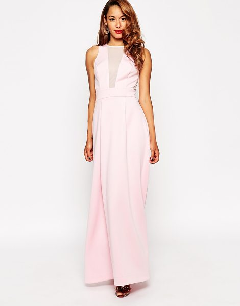 Asos Red carpet scuba mesh maxi dress in pink - Maxi dress by ASOS Collection Smooth scuba-style fabric...