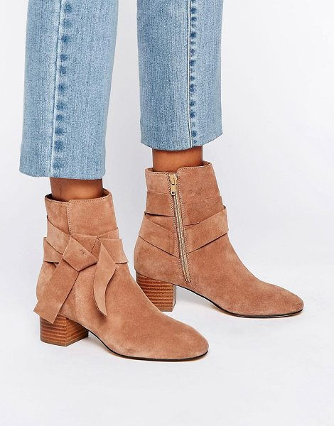 Asos RENZEL Suede Bow Ankle Boots in beige - Boots by ASOS Collection, Suede upper, Side zip...