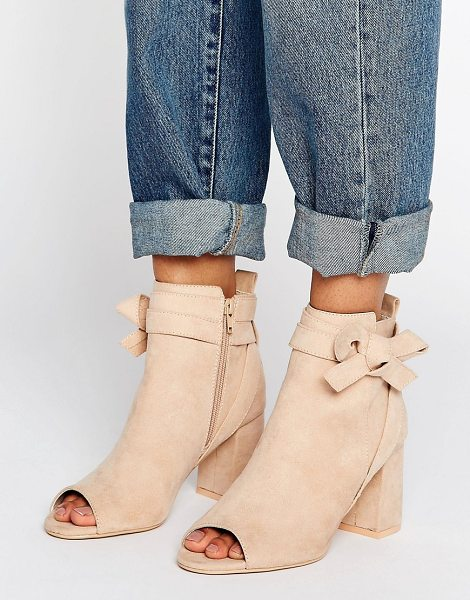 "ASOS REUNION Bow Ankle Boots - """"Boots by ASOS Collection, Faux-suede upper, Side-zip..."