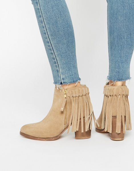 Asos RHYMES Suede Fringe Ankle Boots in beige - Boots by ASOS Collection, Real suede upper, Side zip...