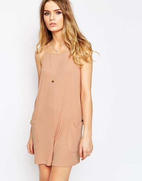 ASOS Rib Lounge Slouch Romper in pink - Romper by ASOS Collection, Super lightweight stretch...