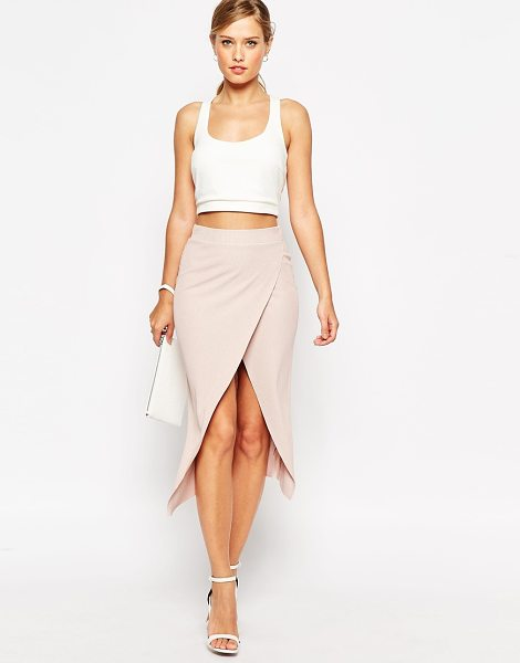 Asos Rib wrap midi pencil skirt in beige - Pencil skirt by ASOS Collection, Smooth stretch fabric,...