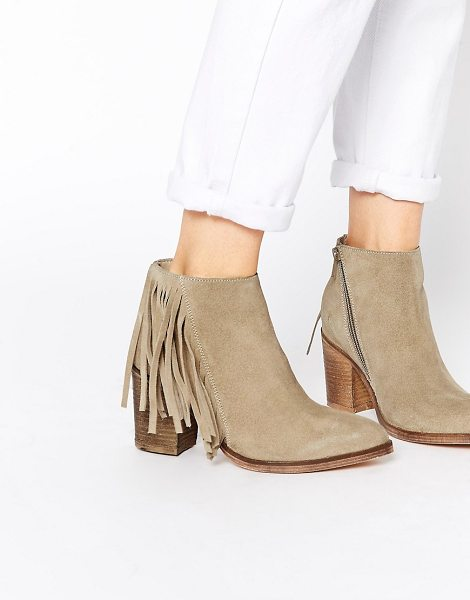 Asos Riley suede western fringe ankle boots in beige - Boots by ASOS Collection, Smooth suede upper, Side zip...
