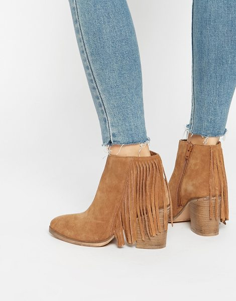 Asos RILEY Suede Western Fringe Ankle Boots in tan - Boots by ASOS Collection, Real suede upper, Side zip...