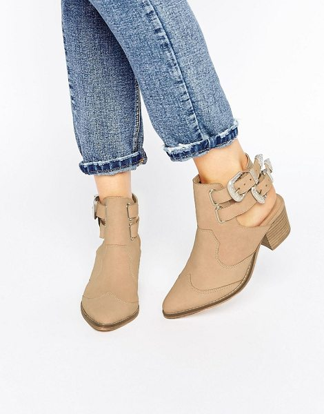 "Asos RIVA Leather Western Boots in beige - """"Boots by ASOS Collection, Leather upper, Buckle..."