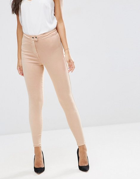 "Asos RIVINGTON High Waisted Denim Jeggings in Nude in pink - """"Rivington jeggings by ASOS Collection, Smooth..."