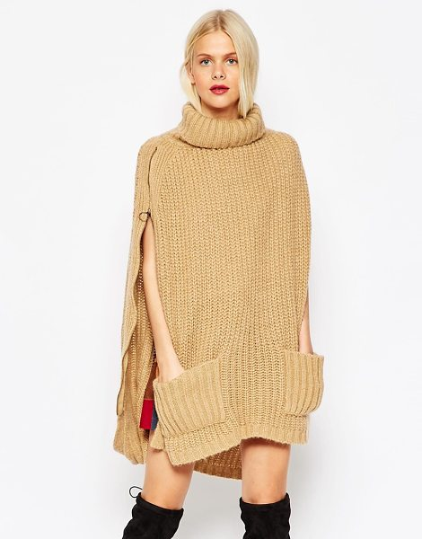 ASOS Roll neck cape with pockets in camels - Cape by ASOS Collection Chunky ribbed knit High roll...