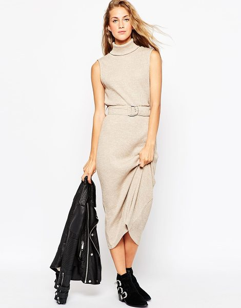 ASOS Roll neck midi dress in knitted rib with d-ring - Casual dress by ASOS Collection, Mid-weight ribbed knit,...