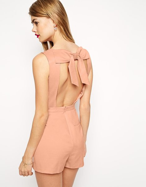 Asos Romper with Bow Back in pink - Romper by ASOS Collection, Silky feel, lightly textured...