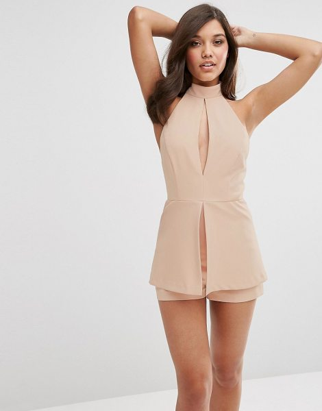 "Asos Romper With Soft Peplum and Keyhole Detail in pink - """"Romper by ASOS Collection, Woven fabric, High..."