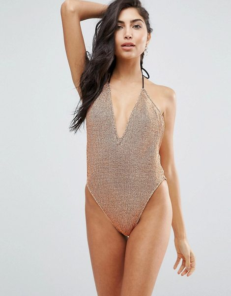 ASOS Rose Gold Chain Mail Effect Plunge & High Leg Swimsuit - Swimsuit by ASOS Collection, Textured swim fabric,...