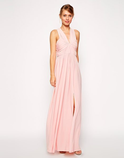 Asos Ruched cross strap maxi dress in pink - Dress by ASOS Collection, Silky feel, lightly textured,...