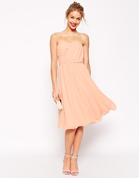 ASOS Ruched full midi bandeau dress in nude - Dress by ASOS Collection Lightweight, semi-sheer,...