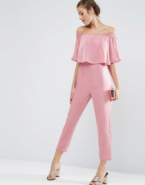 Asos Ruffle bardot jumpsuit in satin in pink - Jumpsuit by ASOS Collection, Smooth satin fabric, Bardot...