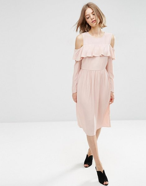 Asos Ruffle Front Cold Shoulder Dress in pink - Dress by ASOS Collection, Lightweight woven fabric,...