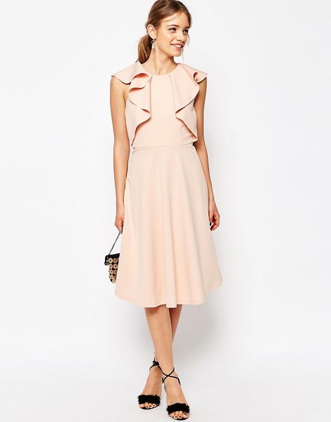Asos Ruffle Neck Skater Midi Dress in pink - Midi dress by ASOS Collection, Soft-touch ponte, Round...