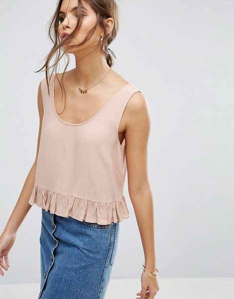 """ASOS Ruffle Tank in Crinkle - """"""""Top by ASOS Collection, Crinkled woven fabric, Scoop..."""