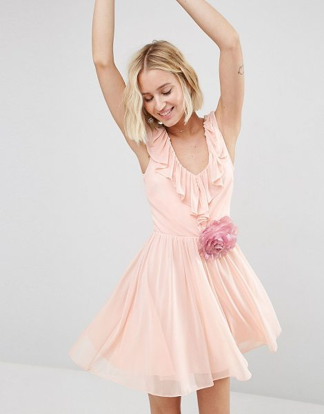 Asos Ruffle V Front Mini with Detachable Corsage in pink - Dress by ASOS Collection, Lined chiffon, Plunge neckline...