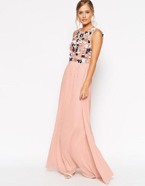 Asos Salon 3d flower maxi dress in pale pink - Maxi dress by ASOS Collection Mid-weight chiffon Full...