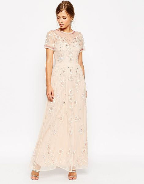 Asos Salon beaded floral mesh maxi dress in dusty pink - Dress by ASOS Collection Layered chiffon Sheer mesh yoke...