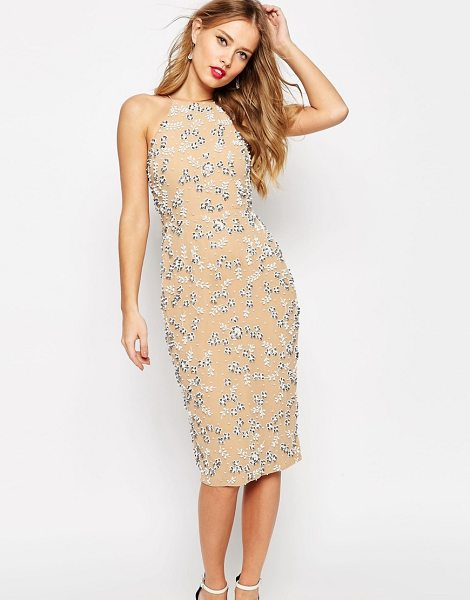 Asos SALON Drape Back Beaded Floral Midi Dress in beige - Midi dress by ASOS SALON, Lined embellished chiffon,...