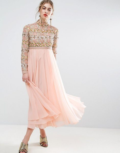 """ASOS SALON High Neck Embellished Midi Skater Dress with Long Sleeves - """"""""Midi dress by ASOS Collection, Heavily embellished..."""